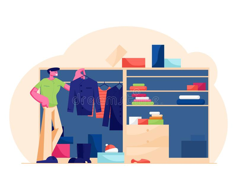 Young Handsome Man Stand at Home Wardrobe Looking at Hanging Clothes Deciding what Shirt to Choose for Wear royalty free illustration
