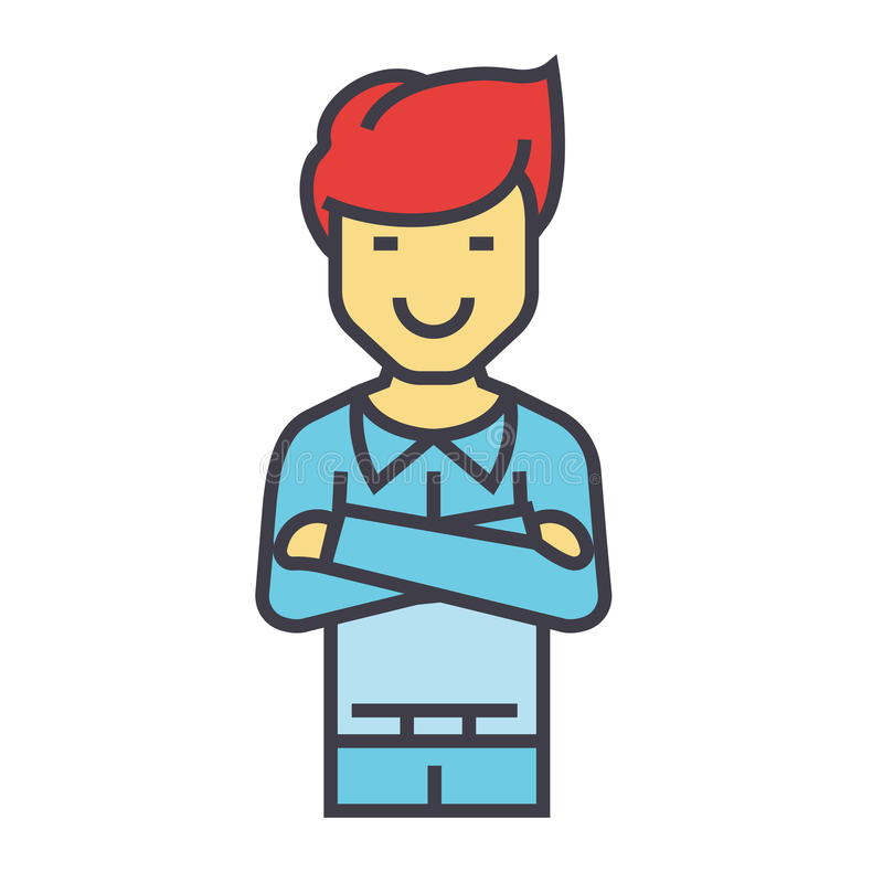 Young handsome man standing with folded arms concept. vector illustration