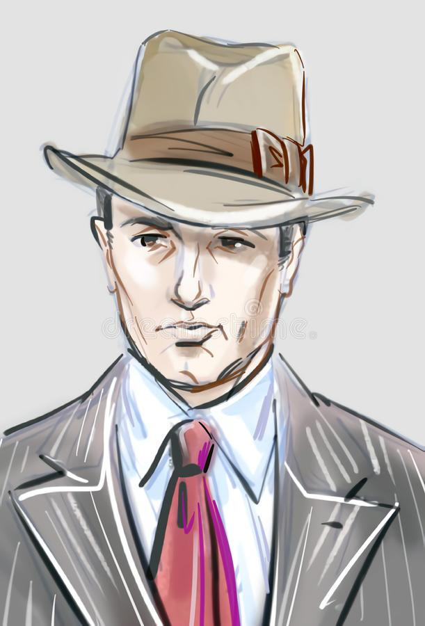 Young handsome man in a vintage style. Artistic portrait of a retro gangster type of a young handsome man stock illustration