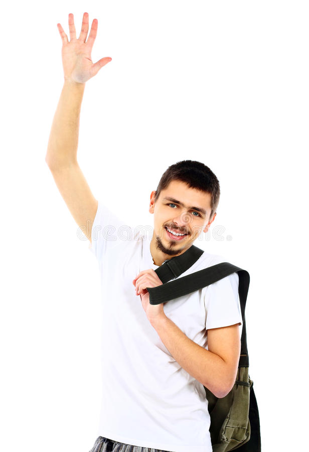 Young handsome man waving a greeting