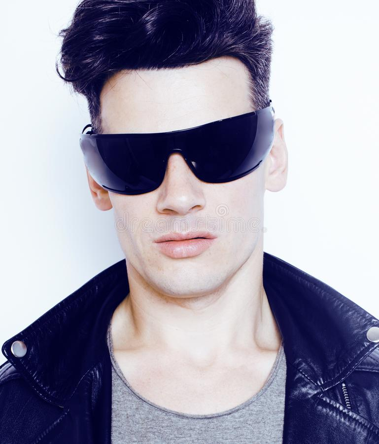 Young handsome modern man in sunglasses like robot, lifestyle fashion style people concept stock photos