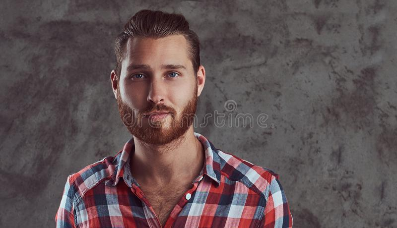 Young handsome redhead model man in a flannel shirt on a gray background. royalty free stock photos