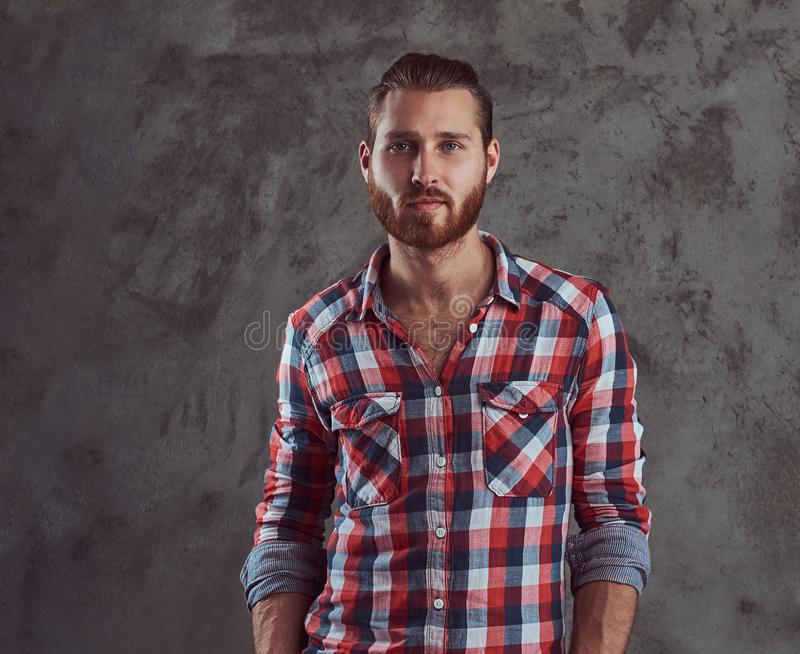 Young handsome redhead model man in a flannel shirt on a gray background. royalty free stock photo
