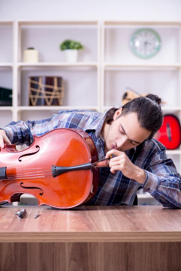 Young handsome repairman repairing cello. The young handsome repairman repairing cello royalty free stock photography