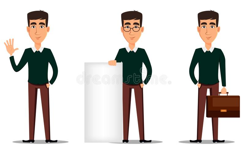 Young handsome smiling businessman in smart casual clothes. Set of three illustrations. Business man cartoon character. Young handsome smiling businessman in royalty free illustration