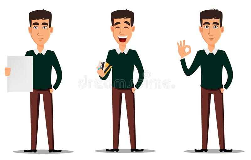 Young handsome smiling businessman in smart casual clothes showing blank placard, holding credit cards and making ok gesture. Business man cartoon character stock illustration