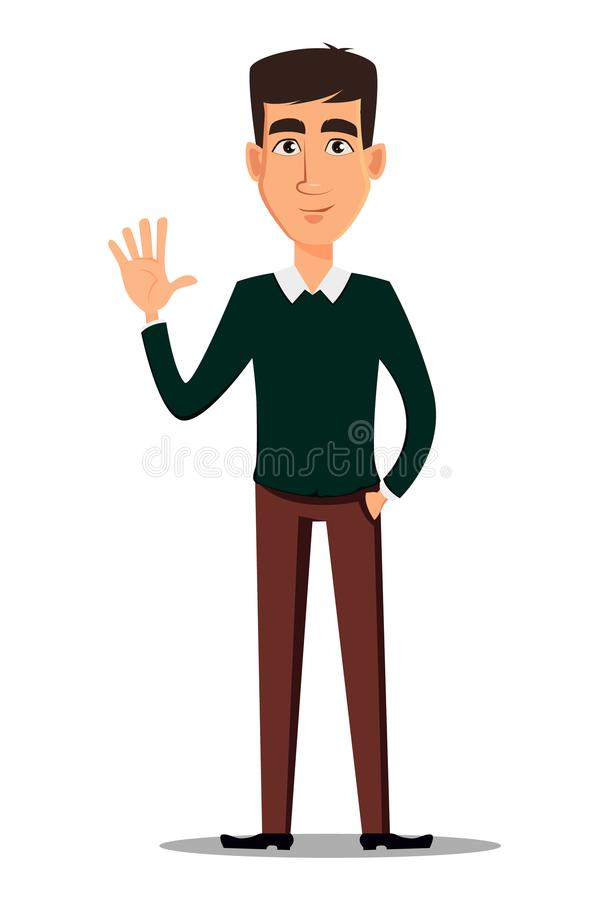 Young handsome smiling businessman in smart casual clothes showing greeting gesture. Business man cartoon character. Young handsome smiling businessman in smart royalty free illustration