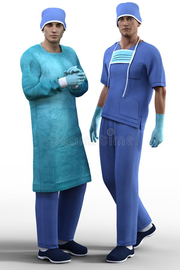 Young handsome surgeons in special outfit isolated royalty free illustration