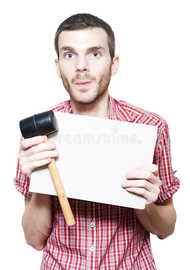 Download Young Handyman Holding Card Board Sign And Mallet Stock Image - Image of object, holding: 27338079