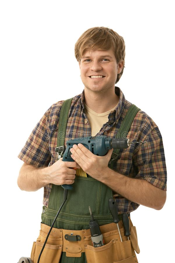 Free Young Handyman With Power Drill Stock Image - 17627801