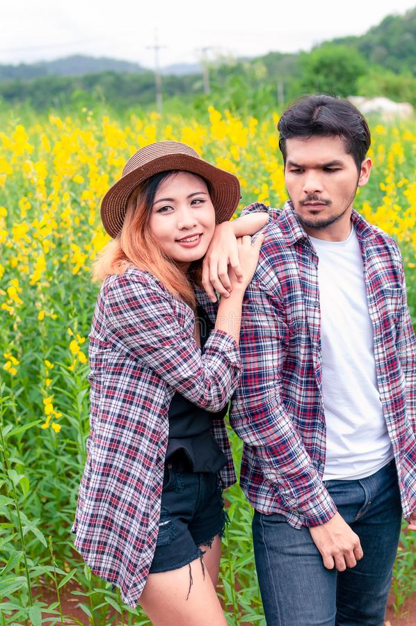 Young Happiness couple love have romantic date in the nature.Travel in love lifestyle concept royalty free stock photography