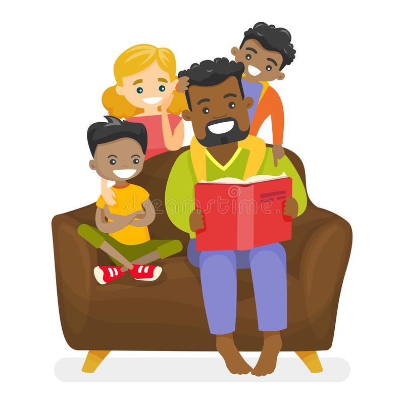 Father reading a book to multiethnic children. Young happy african-american father reading a book to multiethnic biracial mulatto kids and Caucasian white wife royalty free illustration
