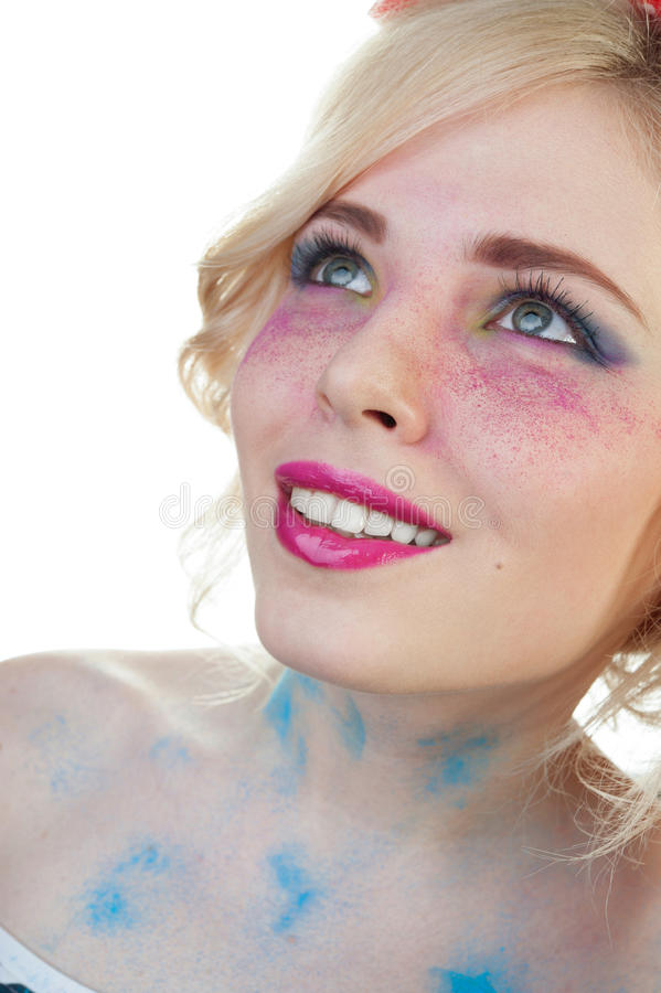 Young happy blonde woman with creative bright make-up isolated o royalty free stock photos