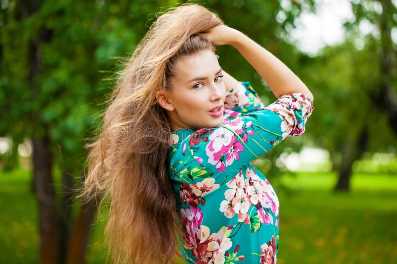 Young brunette woman stock photo
