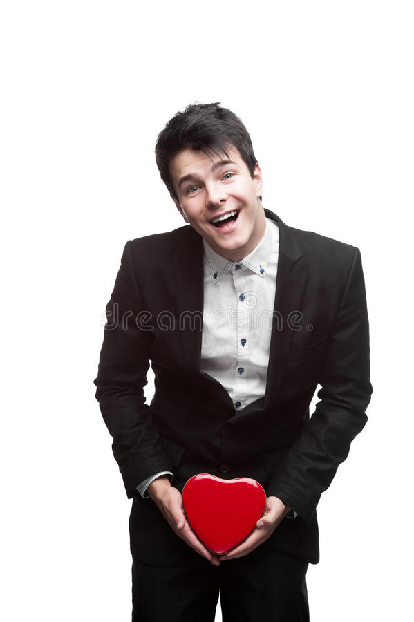 Young happy business man on valentine's day stock photo