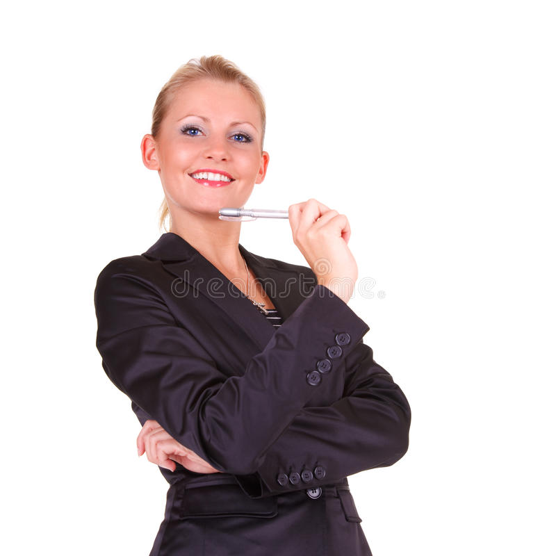 Young happy business woman stock photos