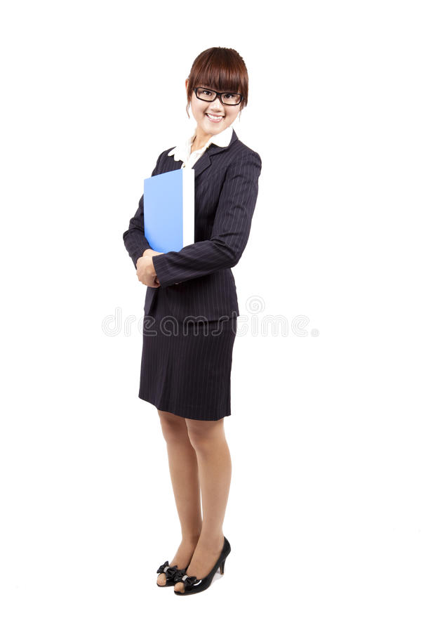 Young and happy business woman isolated stock photos