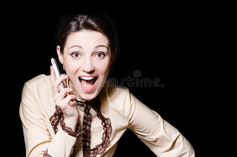 Young happy business woman speaking on mobile phone copyspace royalty free stock photos
