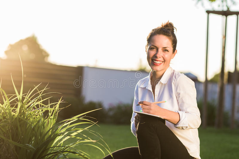 Young happy businesswoman stock image