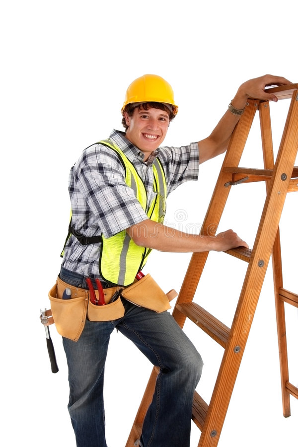 Young Happy Carpenter with Ladders