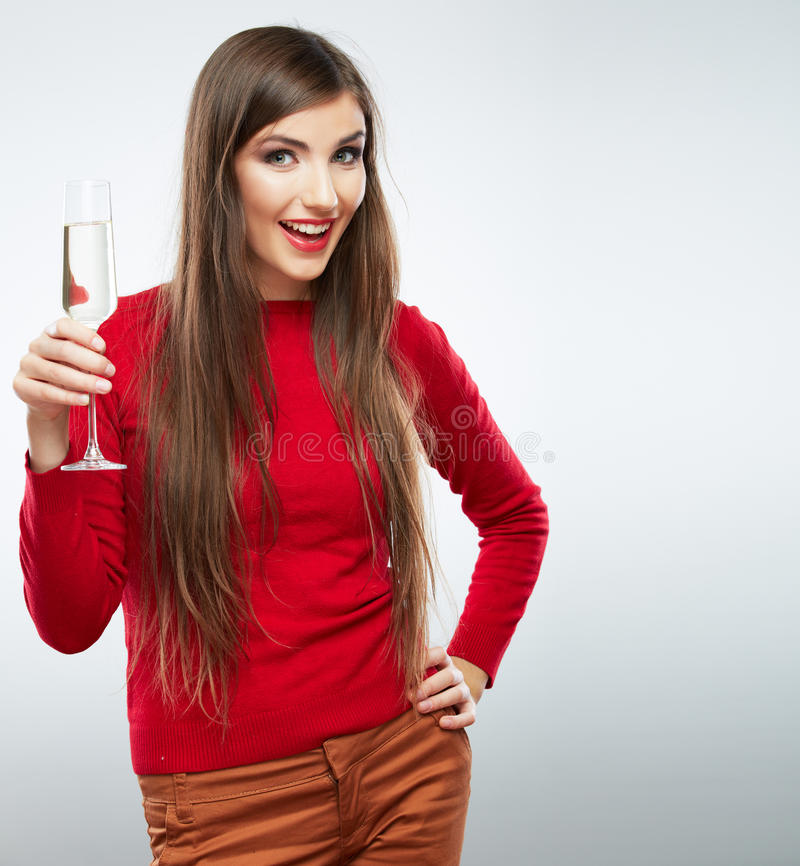 Young happy celebrate woman christmas style portrait.  royalty free stock photos