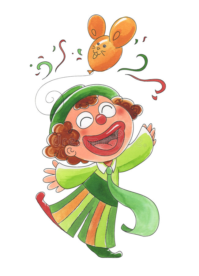 Young happy clown vector illustration