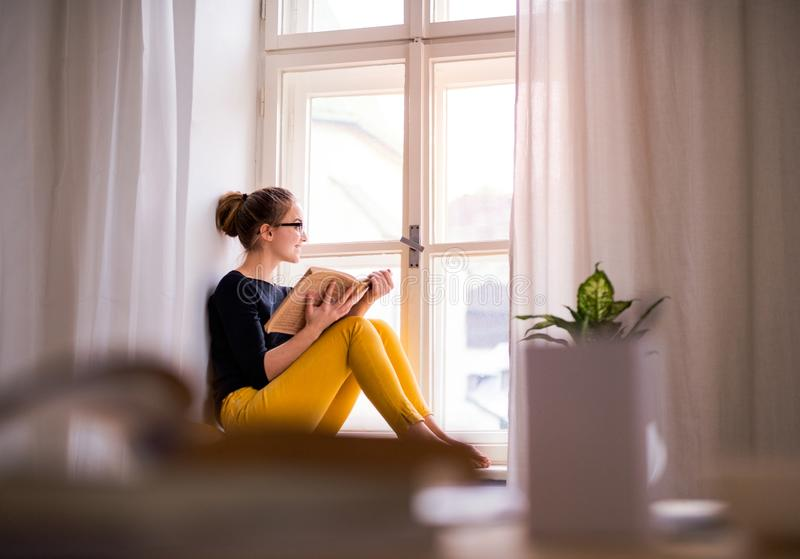 A young female student with a book sitting on window sill, studying. A young happy college female student with a book sitting on window sill at home, studying stock photo