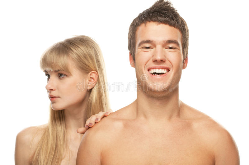 Download Young Happy Couple Against White Background Royalty Free Stock Photos - Image: 33118818