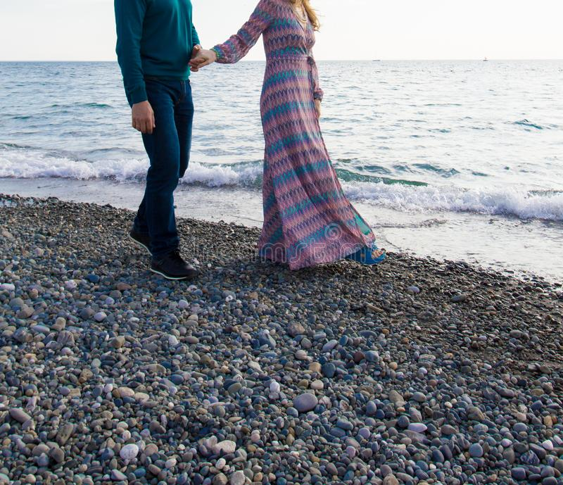 Young happy couple on the beach royalty free stock image