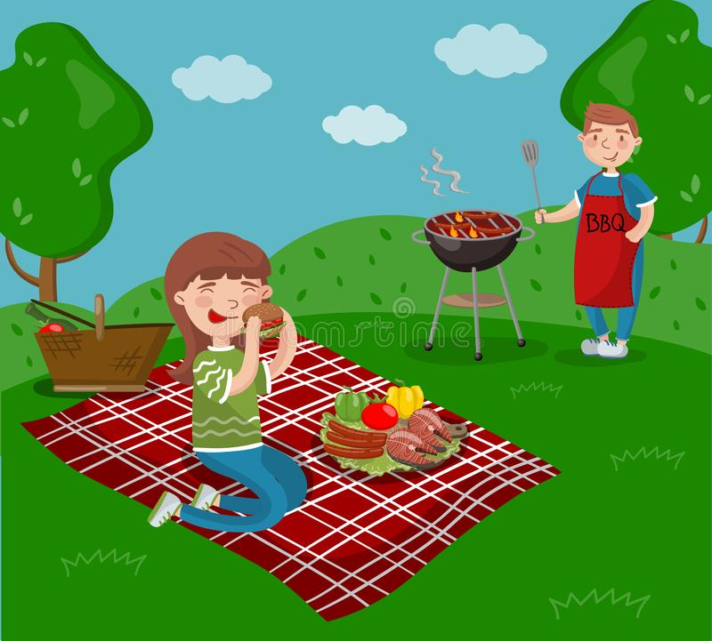 Young happy couple cooking and eating bbq while sitting in the garden, barbecue party in summer holiday cartoon vector. Illustrations on a white background royalty free illustration