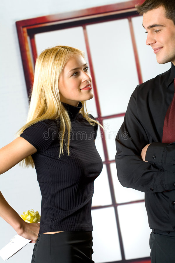 Young happy couple with gift stock images