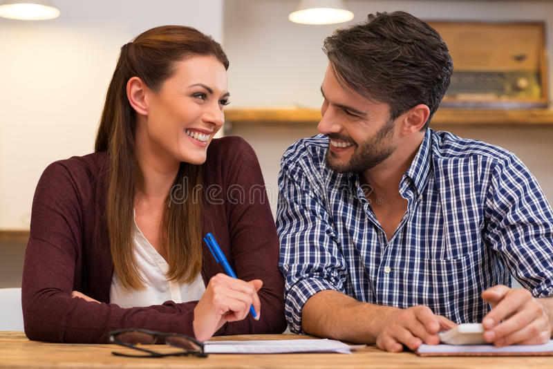 Young happy couple at home royalty free stock photo