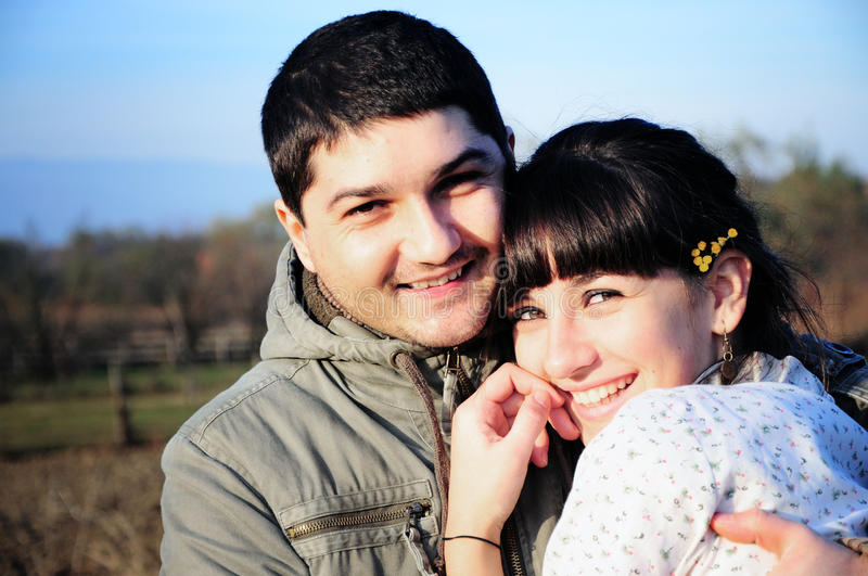 Young happy couple in love. Close-up photo of a young happy couple in love