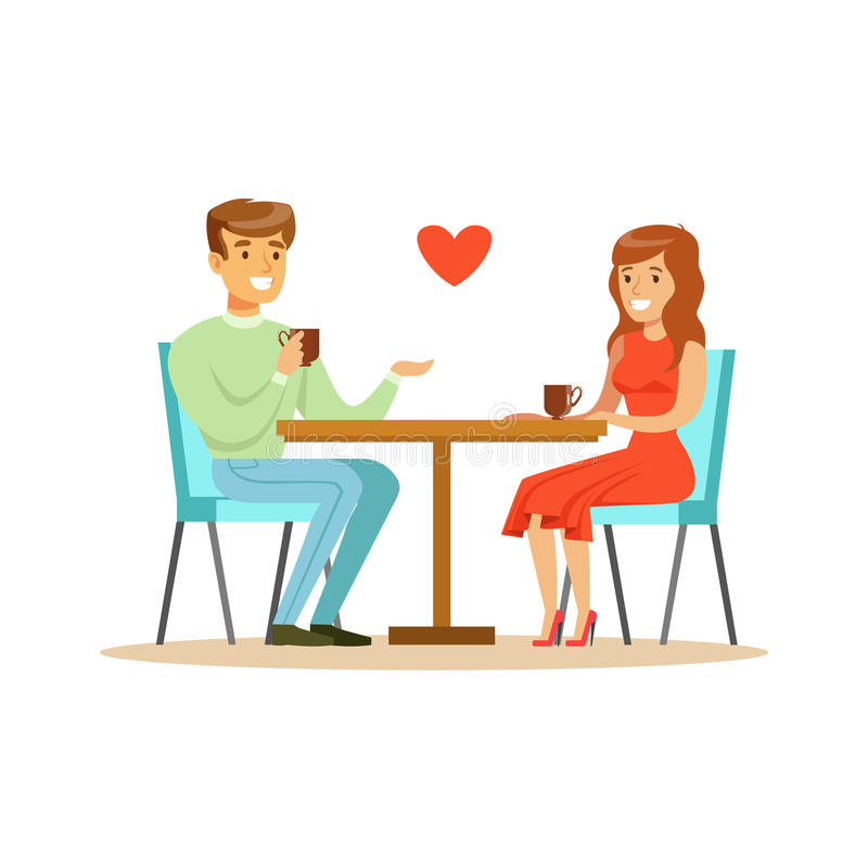 Young happy couple in love sitting in cafe colorful character vector Illustration stock illustration