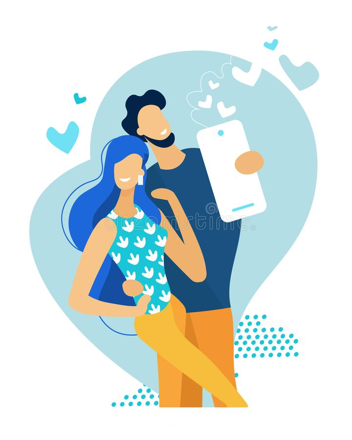 Young Happy Couple Making Selfie. Love Relations. Young Happy Couple Making Selfie. Man Holding Smartphone Shooting Picture of himself with Girlfriend. Love stock illustration
