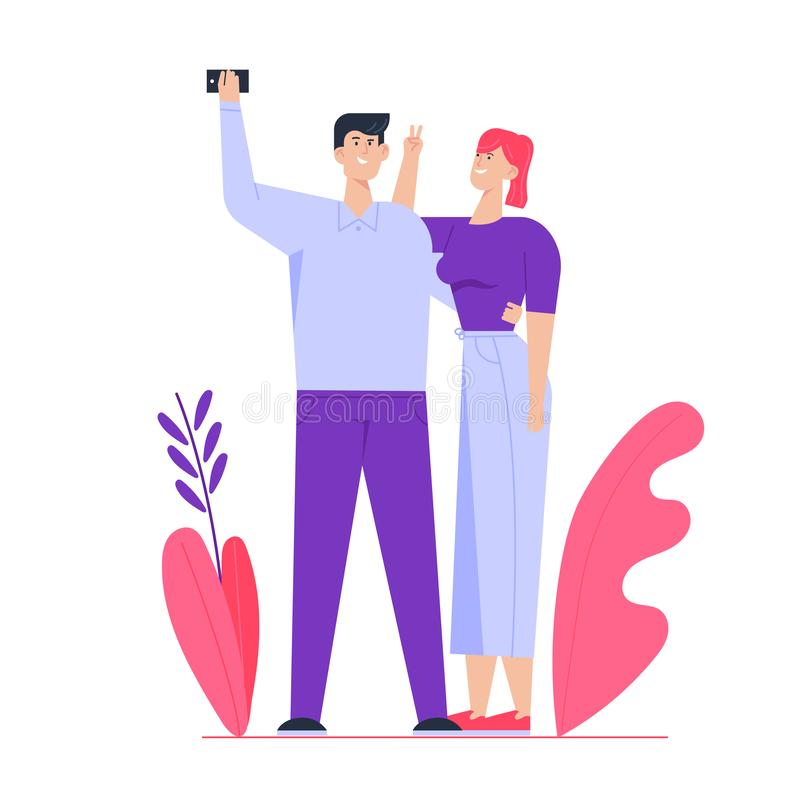 Young Happy Couple Making Selfie. Man Holding Smartphone Shooting Picture of himself with Girlfriend. Love. Romantic Relations, Meeting. Family Memory Sweet vector illustration