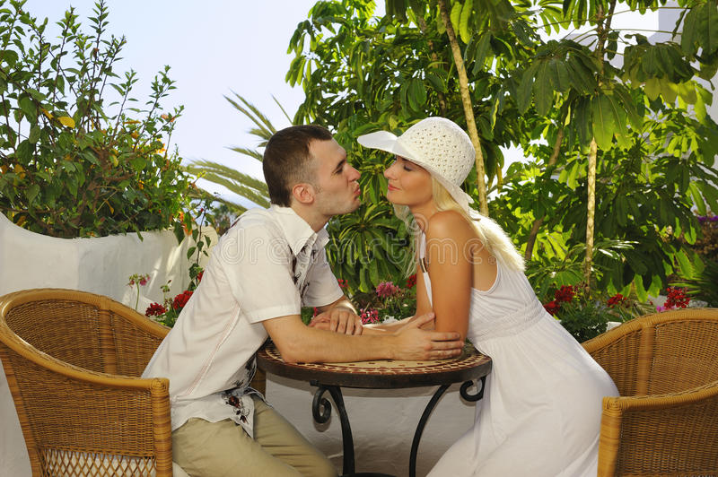 Young happy couple outdoors. Picture of a Young happy couple outdoors stock images