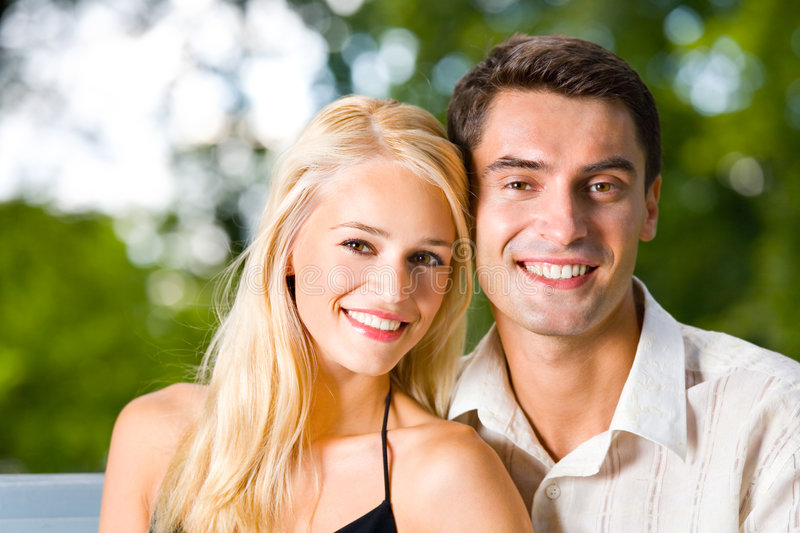 Young happy couple, outdoors royalty free stock photos