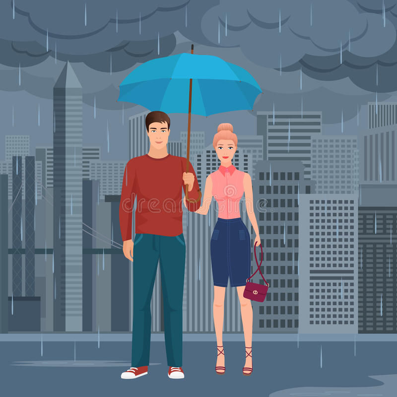 Young Happy couple pair standing under the umbrella in the street in dark grey rainy day vector illustration. vector illustration