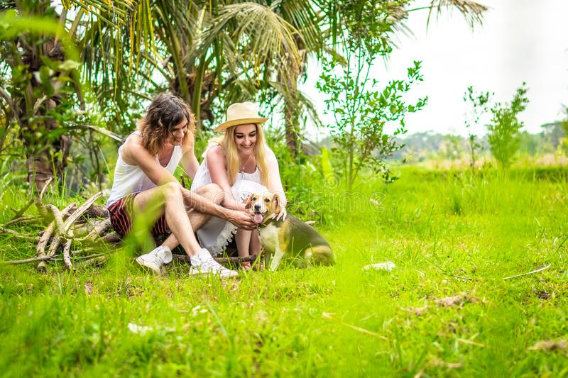 Young happy couple playing with cute and active beagle dog in nature. Tropical island of Bali, Indonesia. royalty free stock images