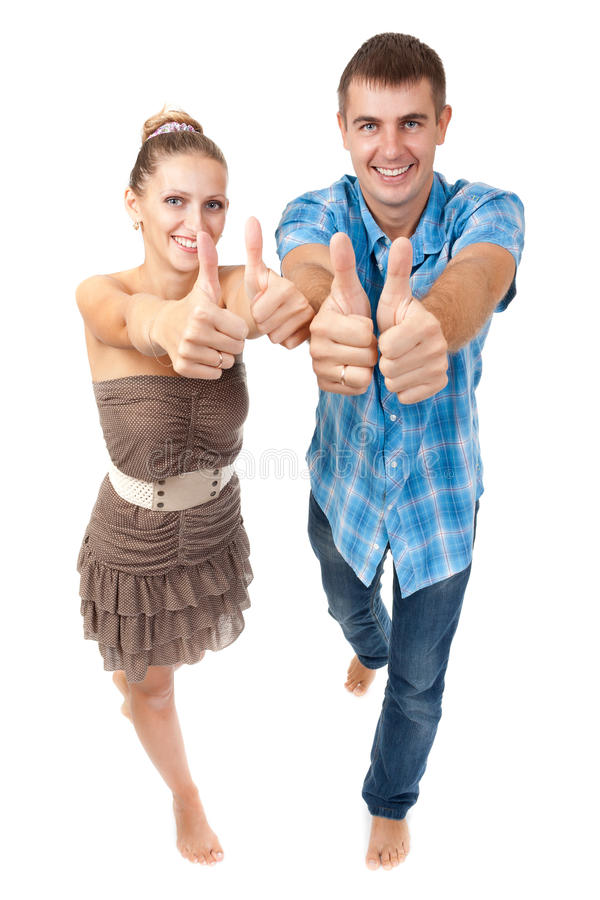Young happy couple showing ok royalty free stock photos