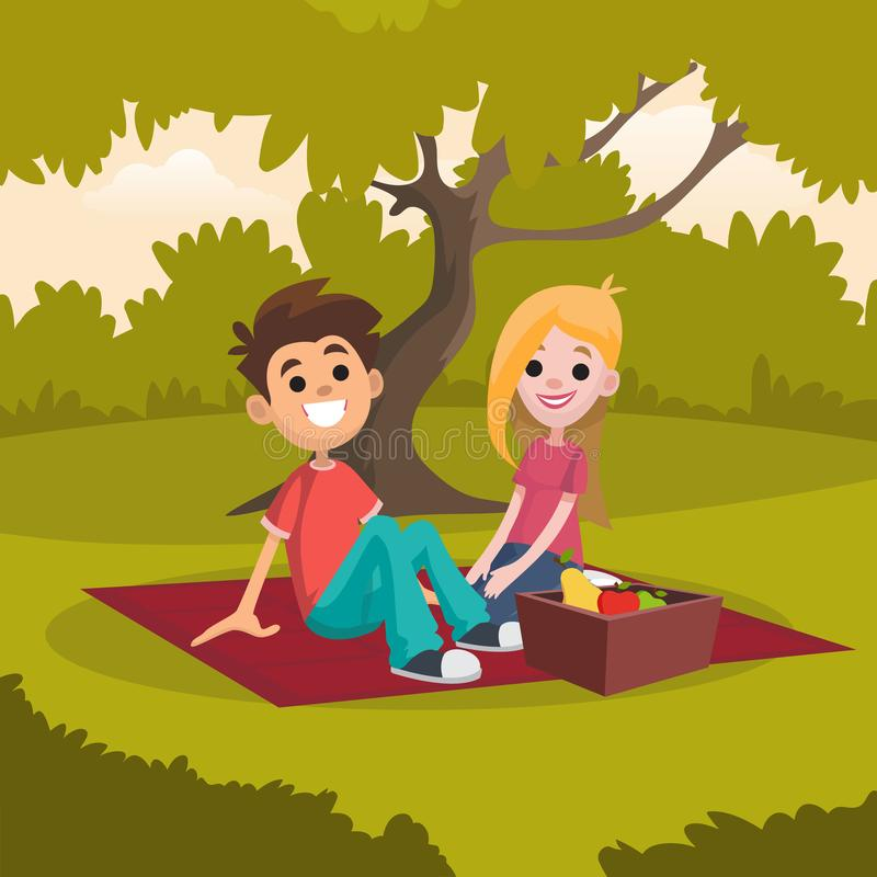 Young happy couple sitting on picnic blanket in park. Romantic date on nature. Rest in open air. Cartoon people vector illustration
