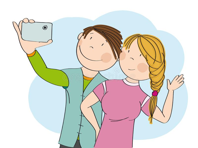 Young happy couple taking selfie. Original hand drawn illustration. Young happy couple taking selfie, smiling happily. Original hand drawn illustration vector illustration