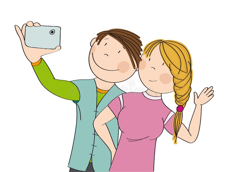 Young happy couple taking selfie. Original hand drawn illustration. Young happy couple taking selfie, smiling happily. Original hand drawn illustration stock illustration