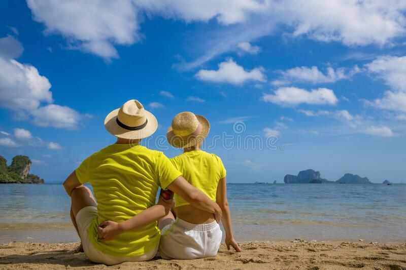 Young happy couple on tropical beach at summer vacation. Thailand.  stock image