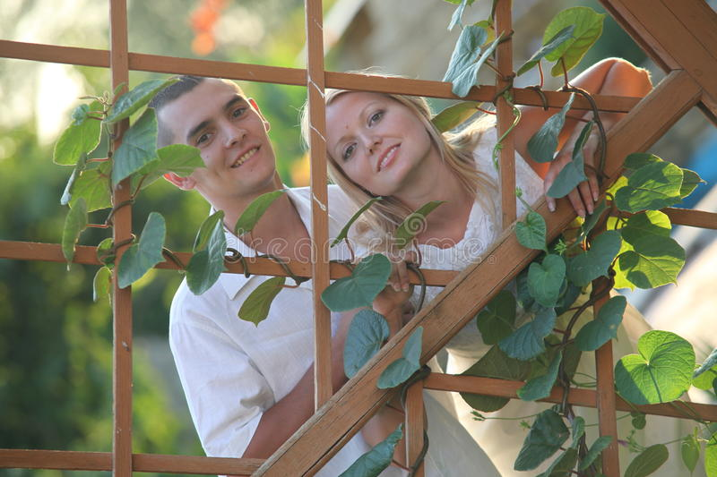 Young Happy Couple At Wooden Lattice Stock Photo