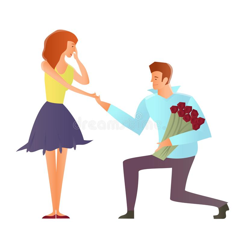 Young couples in love. Man makes a proposal to his girlfriend, kneeling. Vector Illustration, on white. Young happy couples in love, man and woman. Man makes a vector illustration