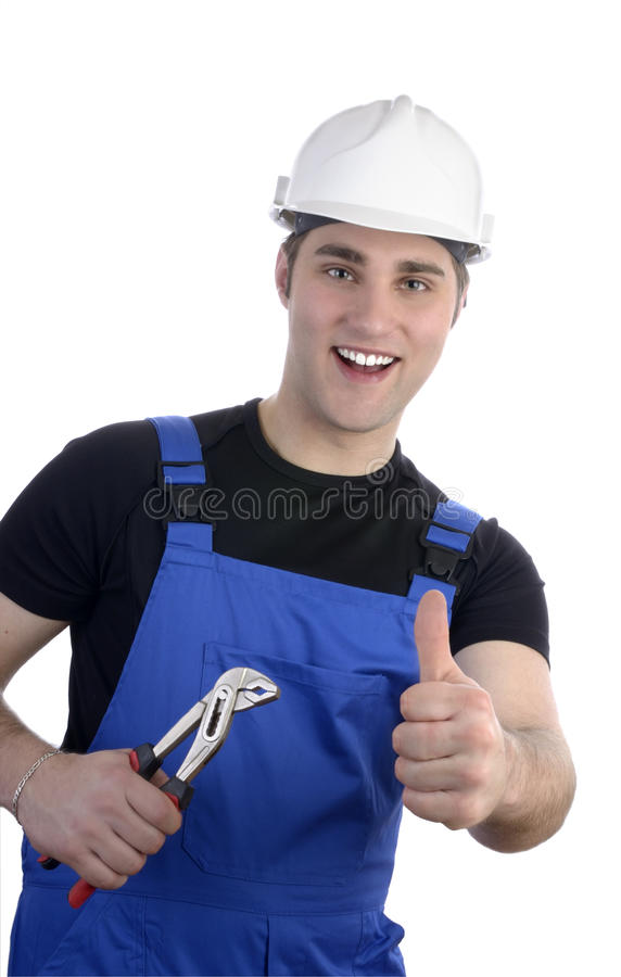 Young happy craftsman with pair of tongs, thum up stock photography
