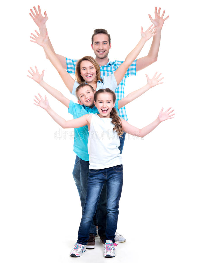 Young Happy Family With Children Raised Hands Up Stock Images