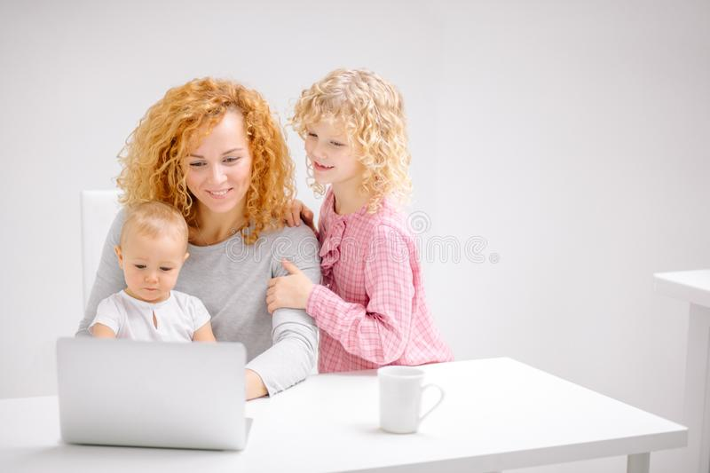 Young happy family doing shopping together stock image
